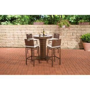 CLP Gartenbar-Set MARI XL aus wetterbeständigem Polyrattan | Bartisch mit eingelassenem Edelstahlkübel | Gartenset mit 4 Barhockern inkl. Sitzkissen