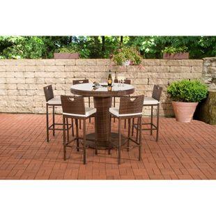 CLP Gartenbar-Set MARI XL aus wetterbeständigem Polyrattan | Bartisch mit eingelassenem Edelstahlkübel | Gartenset mit 6 Barhockern inkl. Sitzkissen