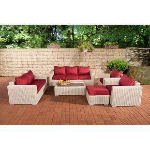 CLP Polyrattan-Lounge MADEIRA XL inkl. Polsterauflagen   Gartenmöbel-Set: ein 3er-Sofa, ein 2er-Sofa, zwei Sessel, ein Loungetisch und ein Hocker