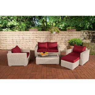 CLP Polyrattan Lounge MADEIRA inkl. Polsterauflagen | Gartenmöbel-Set: ein 2er-Sofa, zwei Sessel, ein Loungetisch und ein Hocker
