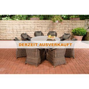CLP Polyrattan Gartengarnitur STAVANGER XL I Gartenmöbel-Set: 8 Sessel und ein Esstisch  I In verschiedenen Farben erhältlich