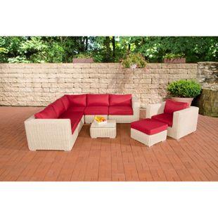 CLP Polyrattan Gartenlounge ARIANO inkl. Polsterauflagen   Garten-Set: ein Ecksofa, ein Sessel, ein Hocker und ein Loungetisch