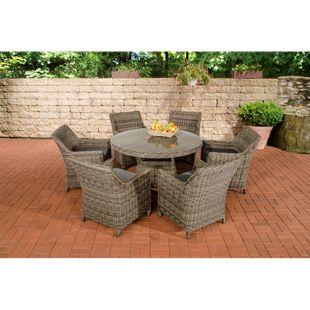 CLP Polyrattan Sitzgruppe GINOSA   Garten-Set: ein runder Esstisch mit Glasplatte und sechs Stühle   In verschiedenen Farben erhältlich