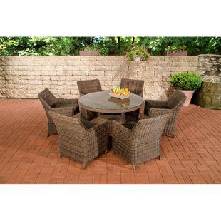CLP Polyrattan Sitzgruppe GINOSA | Garten-Set: ein runder Esstisch mit Glasplatte und sechs Stühle | In verschiedenen Farben erhältlich