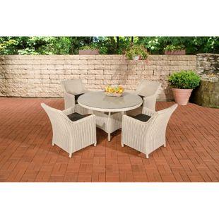 CLP Polyrattan Sitzgruppe BOVINO inkl. Polsterauflagen | Garten-Set: runder Esstisch mit Glasplatte und vier Sessel | In verschiedenen Farben erhältlich