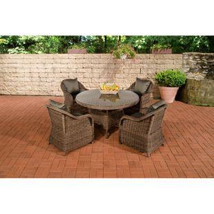 CLP Polyrattan-Sitzgruppe MOA | Garten-Set: ein runder Esstisch mit Glasplatte und vier Sessel | In verschiedenen Farben erhältlich