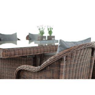 CLP Polyrattan Sitzgruppe CANDELA inkl. Polsterauflagen | Garten-Set: ein Esstisch mit Glastischplatte und sechs Sessel | In verschiedenen Farben erhältlich