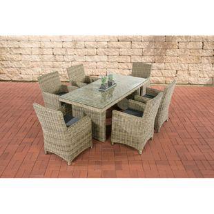 CLP Polyrattan Sitzgruppe FONTANA inkl. Polsterauflagen   Garten-Set: ein Esstisch mit Glasplatte und sechs Stühle   In verschiedenen Farben erhältlich