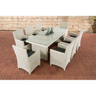 CLP Polyrattan Sitzgruppe FONTANA XL inkl. Polsterauflagen | Garten-Set: ein Esstisch mit Glasplatte und acht Stühle | In verschiedenen Farben erhältlich