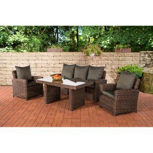 CLP Gartengarnitur FISOLO I Sitzgruppe mit 5 Sitzplätzen I Gartenmöbel-Set aus Polyrattan I Rundrattan| In verschiedenen Farben erhältlich
