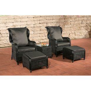 CLP Polyrattan Sitzgruppe TREVISO inkl. Polsterauflagen | Garten-Set: ein Beistelltisch, zwei Sessel und zwei Hocker | In verschiedenen Farben