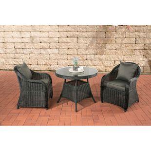 CLP Polyrattan Sitzgruppe BALAO inkl. Polsterauflagen | Garten-Set: ein Beistelltisch mit Glasplatte und zwei Sessel | In verschiedenen Farben erhältlich