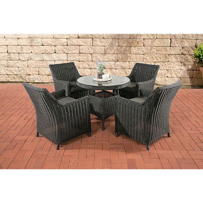 clp polyrattan sitzgruppe tortosa inkl polsterauflagen garten set ein esstisch mit. Black Bedroom Furniture Sets. Home Design Ideas