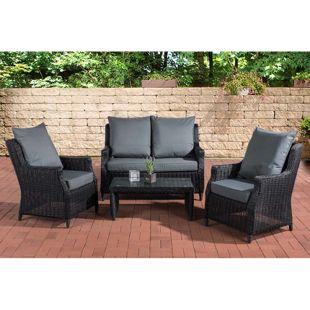 CLP Polyrattan Sitzgruppe MONTERO | Garten-Set: ein Beistelltisch, zwei Sessel und ein Gartensofa | In verschiedenen Farben erhältlich