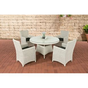 CLP Polyrattan Sitzgruppe PINELLA mit Polsterauflagen | Garten-Set: ein Esstisch und vier Gartenstühle | In verschiedenen Farben erhältlich