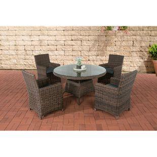 CLP Polyrattan Sitzgruppe PINELLA mit Polsterauflagen   Garten-Set: ein Esstisch und vier Gartenstühle   In verschiedenen Farben erhältlich