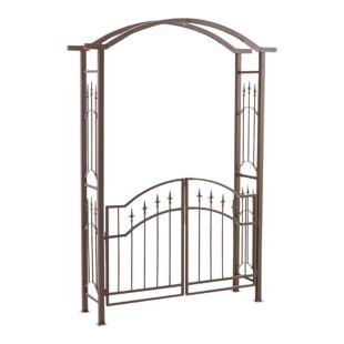 CLP Eisen-Rosenbogen LUXOR mit Eingangspforte | Torbogen aus Metall mit stilvollen Verzierungen | Rankhilfe mit zwei Türen im Landhausstil
