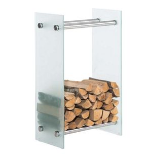 CLP Kaminholzregal / Kaminholzständer DACIO aus Milchglas I stabile Konstruktion I Holzlager I modernes Glasregal mit Bodenschonern