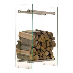 CLP Kaminholzregal / Kaminholzständer DACIO aus Klarglas I stabile Konstruktion I Holzlager I modernes Glasregal mit Bodenschonern