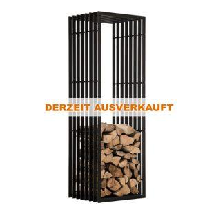 CLP Metall Kaminholzregal IRVING Schwarz-matt, Kaminholzständer, Holzbutler, stabile Konstruktion in Rippen-Optik, mit Bodenschoner, verschiedene Größen,