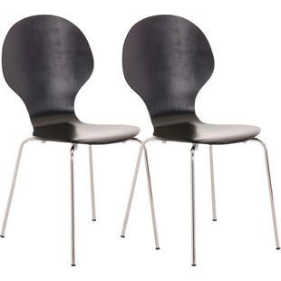 CLP 2x Stapelstuhl DIEGO ergonomisch geformter Konferenzstuhl mit Holzsitz und stabilem Metallgestell I 2x Platzsparender Stuhl mit pflegeleichter Sitzfläche