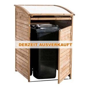CLP Mülltonnenverkleidung aus Holz I Mülltonnenbox mit aufklappbarem Dach I Mülltonnen-Unterstand mit verschließbarer Tür