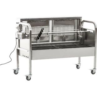 CLP Edelstahl Spanferkel-Grill MARSHALL mit Motor | inkl. Abdeckhaube | 2 gasbetriebene Grillflächen | Belastbarkeit bis 50 kg