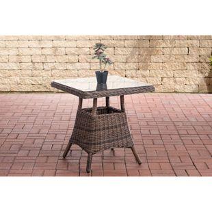 CLP Polyrattan Tisch VAULEN I Rundrattan Tisch I quadratischer Gartentisch I Glastisch