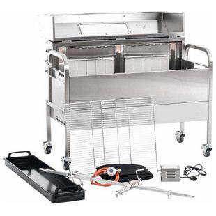 CLP Edelstahl Spanferkel-Grill MATTHEW mit Motor | Holzkohlegrill mit zwei Grillrosten | Gasgrill | Aufsteckfläche 130 cm | Deckel mit Temperaturanzeige