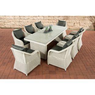 CLP Polyrattan Gartengarnitur LAVELLO XL I Sitzgruppe mit 8 Sitzplätzen I Pflegeleichte Gartenmöbel mit Aluminium-Gestell