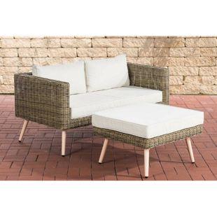 CLP Polyrattan 2er Sofa MOLDE mit Fußhocker I Natura I Loungeset Rundrattan I Gartensofa mit Hocker I 5mm Rattandicke
