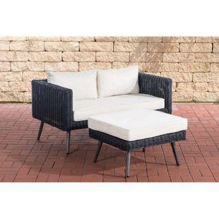 CLP Polyrattan 2er Sofa MOLDE mit Fußhocker I Schwarz I Loungeset Rundrattan I Gartensofa mit Hocker I 5mm Rattandicke