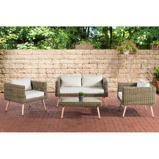 CLP Polyrattan Loungeset MOLDE 2-1-1 I Natura I Gartenlounge Rundrattan I Sofa + 2x Sessel + Glastisch I 5mm Rattandicke