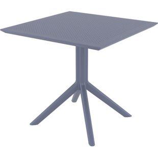 CLP Tisch SKY  80 x 80 cm I Wetterfester Gartentisch aus UV-beständigem Kunststoff I witterungsbeständiger Tisch