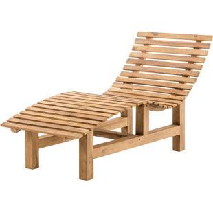 CLP Wetterfeste Waldbank DONAU aus massivem Teakholz I Liegebank mit ergonomischer Sitzfläche und flachen Sitzstreben