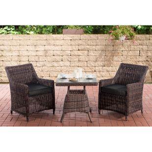 CLP Polyrattan Sitzgruppe HANA I Gartengarnitur Rundrattan I Balkon-Set: 2 Sessel und ein Esstisch