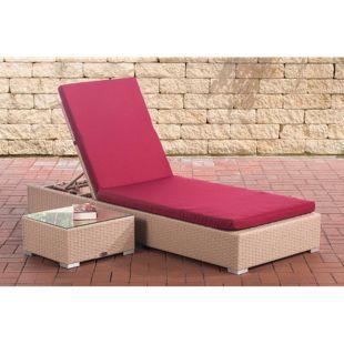 CLP Polyrattan Sonnenliege NADI inkl. Tisch I Wellnessliege mit verstellbarer Rückenlehne I in verschiedenen Farben erhältlich
