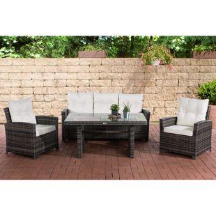 CLP Gartengarnitur FISOLO I Sitzgruppe mit 5 Sitzplätzen I Gartenmöbel-Set aus Polyrattan I Flachrattan | In verschiedenen Farben erhältlich