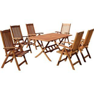 Grasekamp Gartenmöbelgruppe Santos 7 teilig  Holz Sitzgruppe Essgruppe