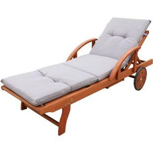 Grasekamp Gartenliege Rio Grande mit Auflage Sand  Holz Liege Sonnenliege Relaxliege