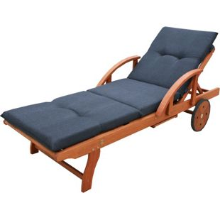 Grasekamp Gartenliege Rio Grande mit Auflage  Anthrazit Holz Liege Sonnenliege  Relaxliege