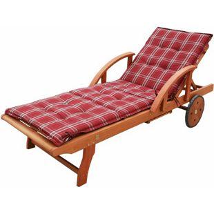 Grasekamp Gartenliege Rio Grande mit Auflage Rubin  Holz Liege Sonnenliege Relaxliege