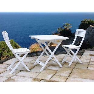 Grasekamp Balkonmöbel Toskana 3tlg Weiß  Klapptisch und 2 Klappstühle