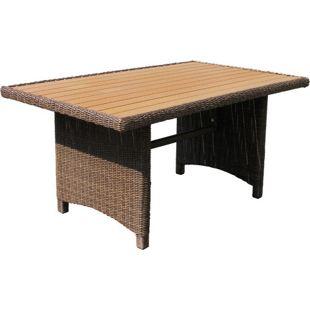 Grasekamp Rattan Tisch Ibiza 150x90cm Polystyrol  Massivplatte Polyrattan Gartentisch