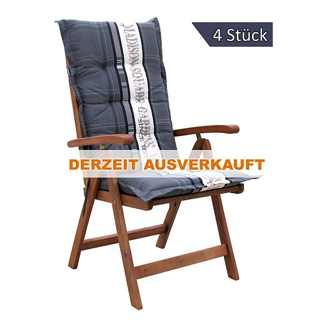grasekamp 4 auflagen gartensessel garden grey kissen polster hochlehner klappsessel stuhl online. Black Bedroom Furniture Sets. Home Design Ideas