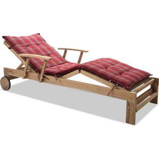 Grasekamp Gartenliege Teak mit Kissen Rubin  Liegestuhl Sonnenliege Relaxliege