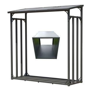 Grasekamp Kaminholz Lager 130 x 60 x 150 cm und  Box für Anmachholz mit Doppelstegplatten  Regal Stapelhilfe Aussen