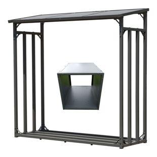 Grasekamp Kaminholz Lager 200 x 60 x 203 cm und  Box für Anmachholz mit Doppelstegplatten  Regal Stapelhilfe Aussen