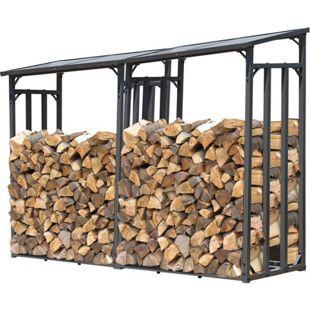 Grasekamp 2 Stück Kaminholzlager 130 x 60 x 203 cm  mit Doppelstegplatten Regal Stapelhilfe Aussen