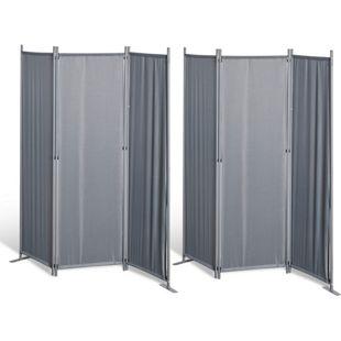 Grasekamp 2 Stück Paravent 3tlg Raumteiler  Trennwand Sichtschutz Grau